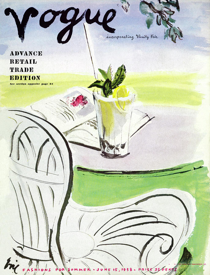 Vogue Cover Illustration Of A Beverage And Book Photograph by Carl Oscar August Erickson