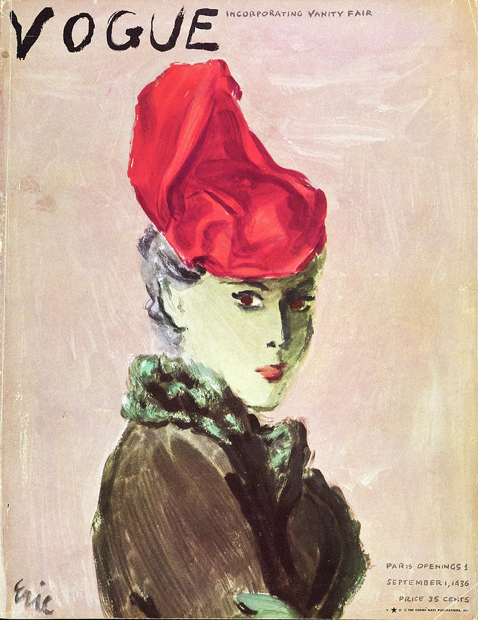 Vogue Cover Illustration Of A Woman Wearing A Red Photograph by Carl Oscar August Erickson