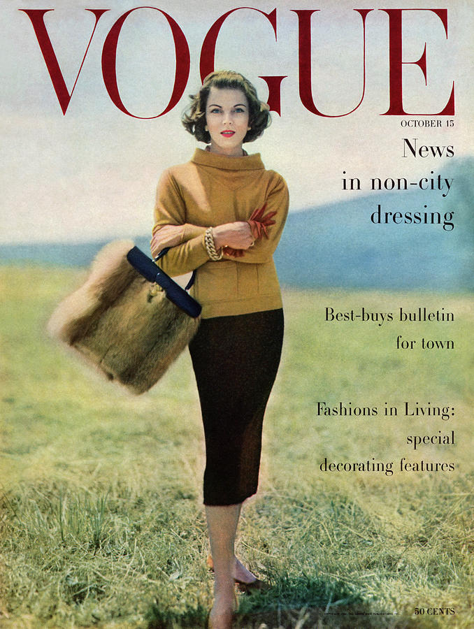 Vogue Magazine Cover Featuring Model Va Taylor Photograph by Karen Radkai