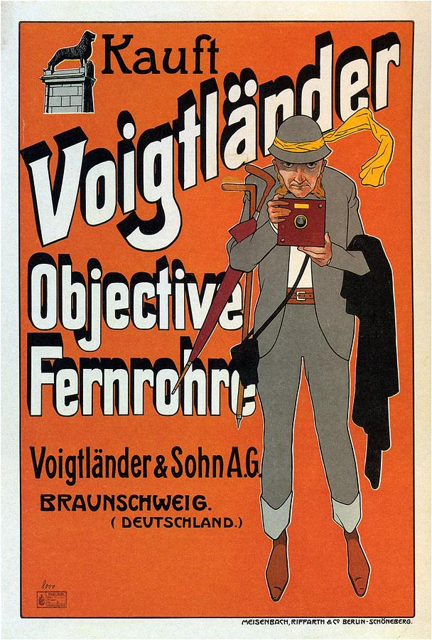 Voigtlander Objective Fernrohre - Vintage Camera Advertising Poster Mixed Media