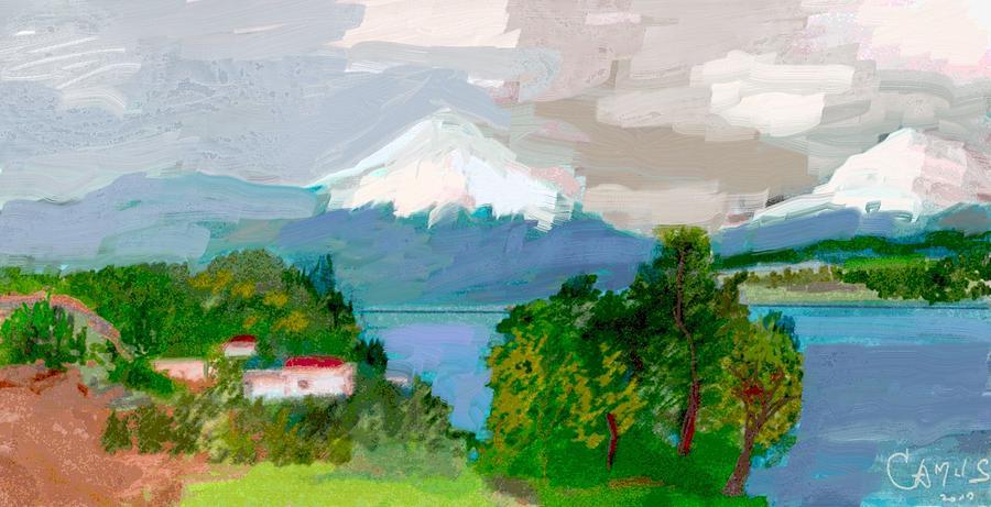 Art Painting - Volcanes Sur De Chile by Carlos Camus