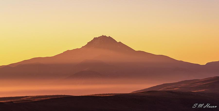 Sunrise Photograph - Volcanic mountain by S M Hasan