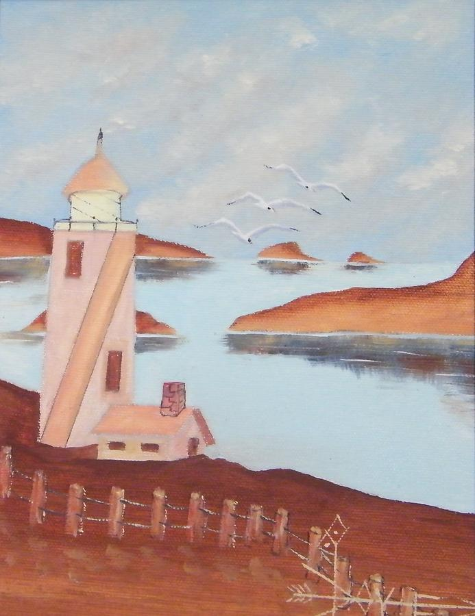 Volcano Harbor Lighthouse Painting by Larry Doyle