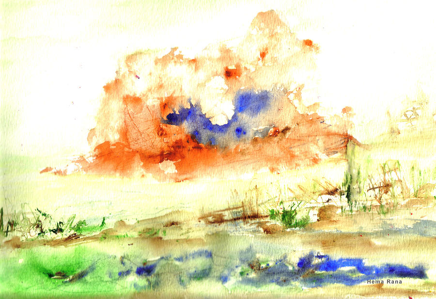 Landscape Painting - Volcano by Hema Rana