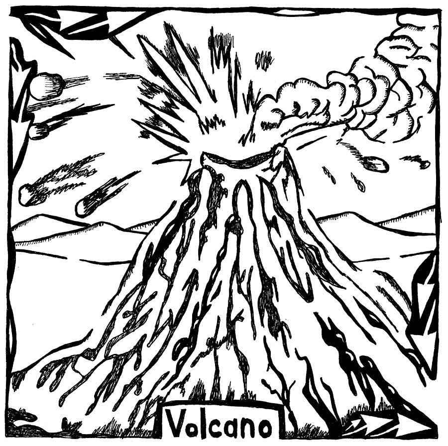 Volcano Drawing - Volcano Maze by Yonatan Frimer Maze Artist