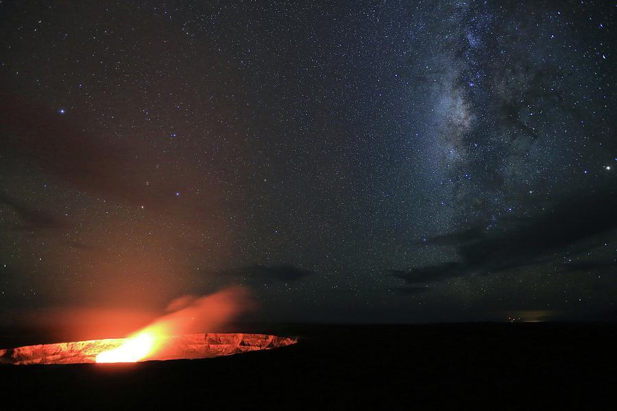 Hawaii Photograph - Volcano Under the Milky Way by M C Hood