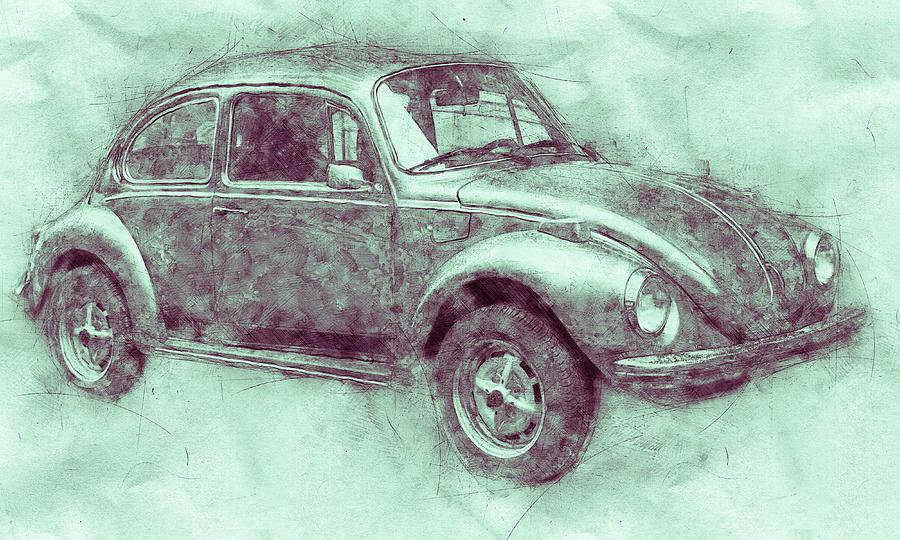 Volkswagen Beetle 3 - Beetle - Economy Car - 1938 - Automotive Art - Car Posters Mixed Media