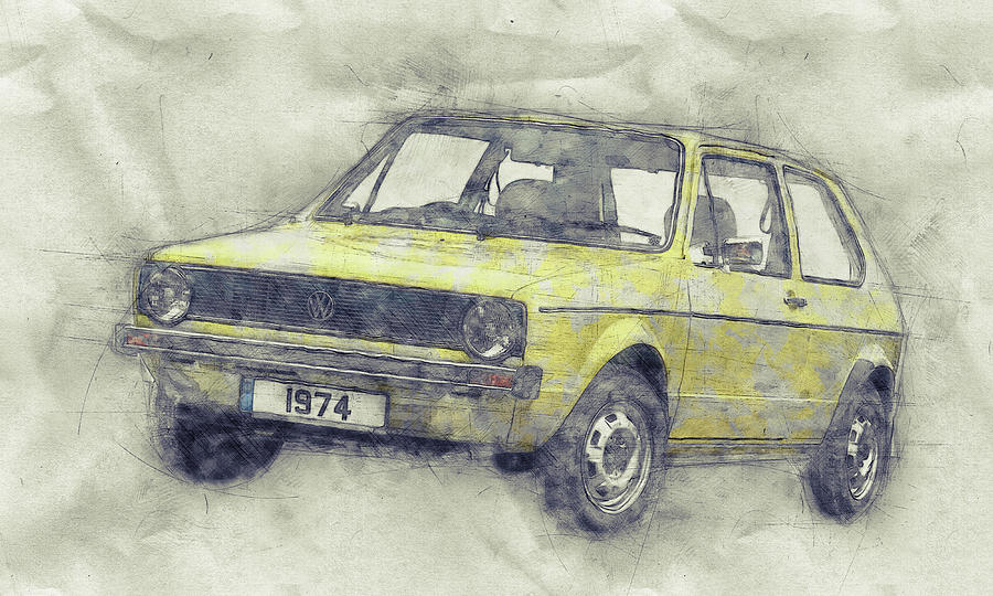 Rally Cars Mixed Media - Volkswagen Golf 1 - Small Family Car - 1974 - Automotive Art - Car Posters by Studio Grafiikka