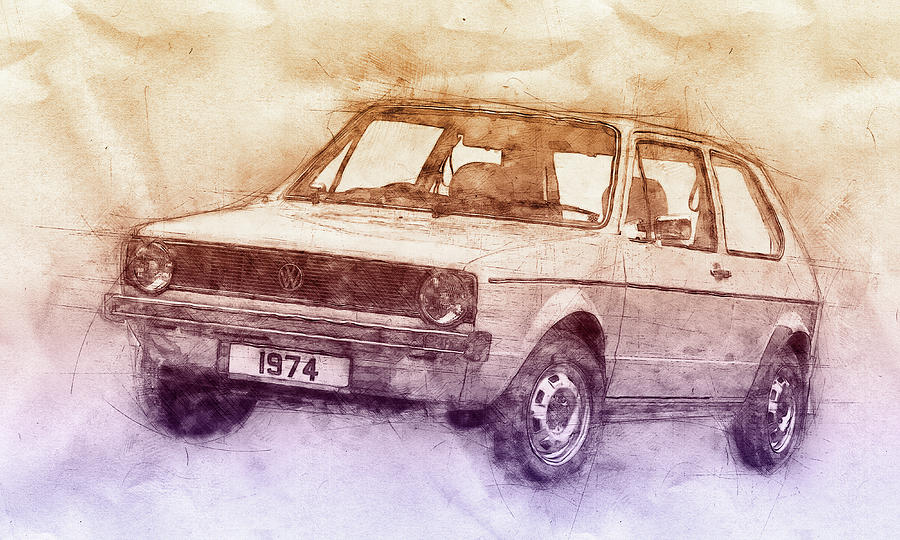 Volkswagen Golf 2 - Small Family Car - 1974 - Automotive Art - Car Posters Mixed Media