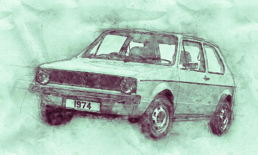 Volkswagen Golf 3 - Small Family Car - 1974 - Automotive Art - Car Posters Mixed Media