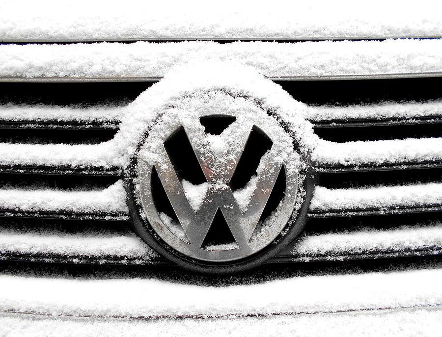 Volkswagen Symbol Under The Snow Photograph By Erika H