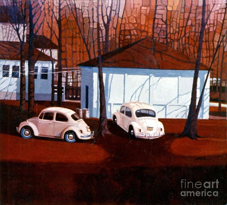 Oil Painting Painting - Volkswagons In Red by Donald Maier