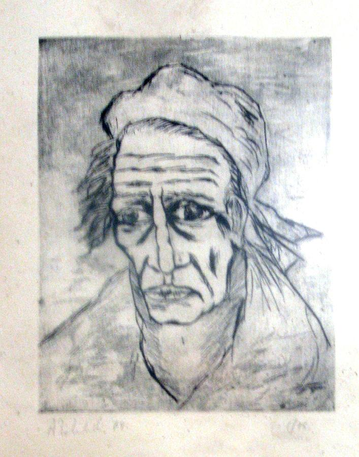 Face Drawing - Volto Di Vecchio by Alfonso Robustelli