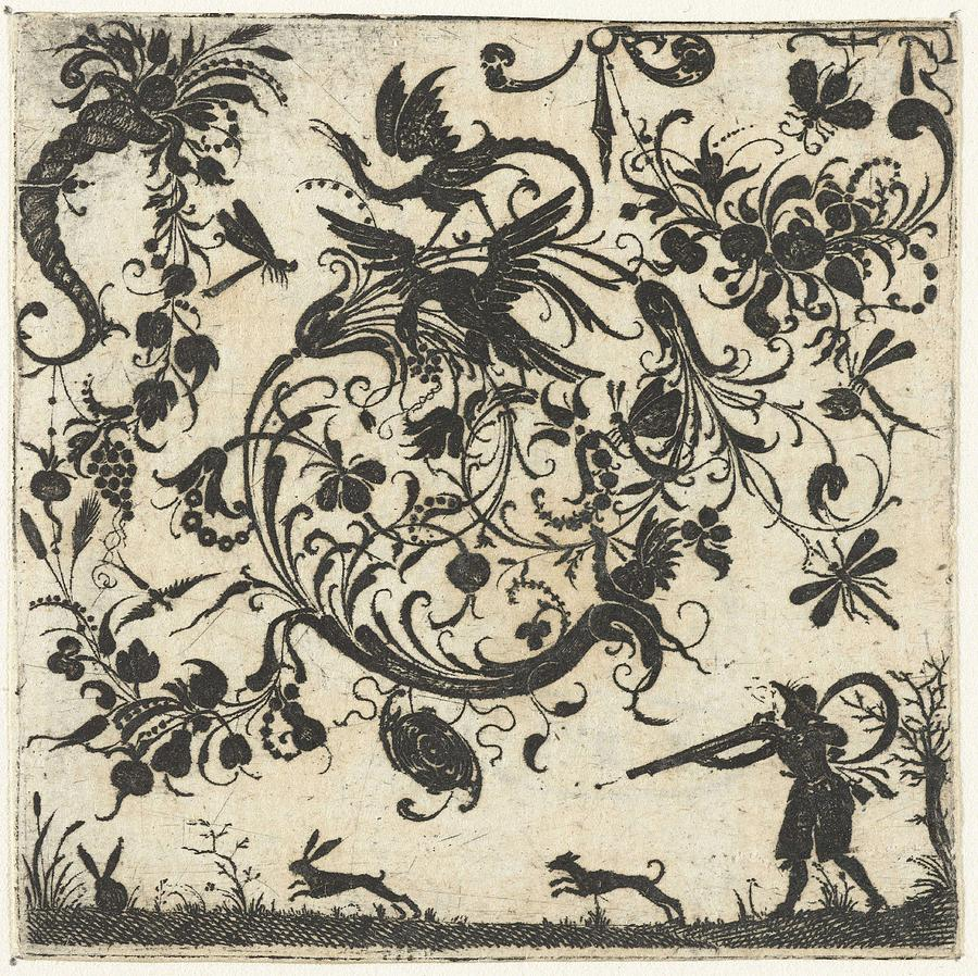 Volute With Birds And Insects, Esaias Of Hulsen, 1580 - 1626 Painting