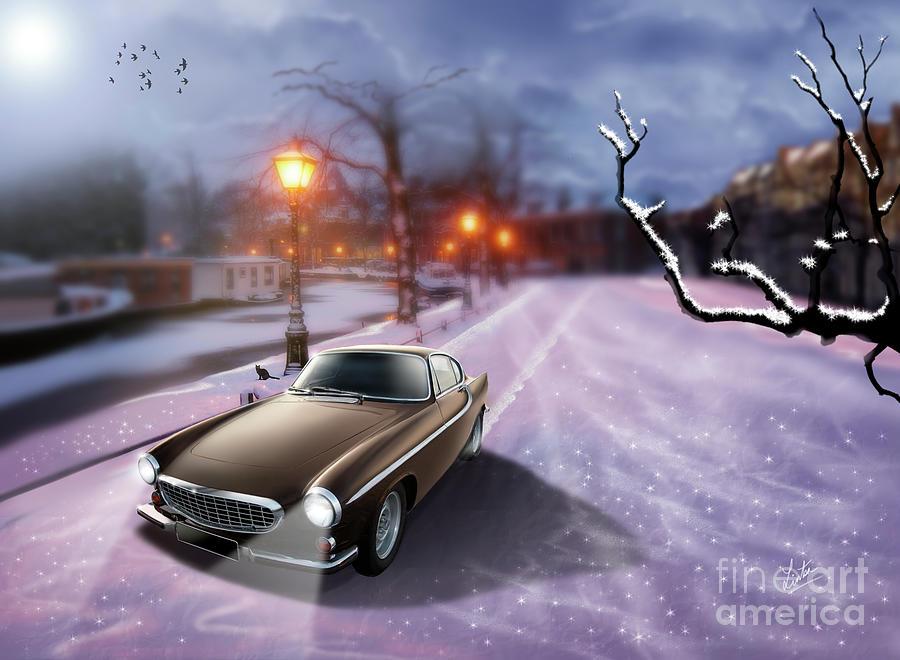 Volvo P1800 Digital Art - Volvo P1800 Snow Scene by Linton Hart