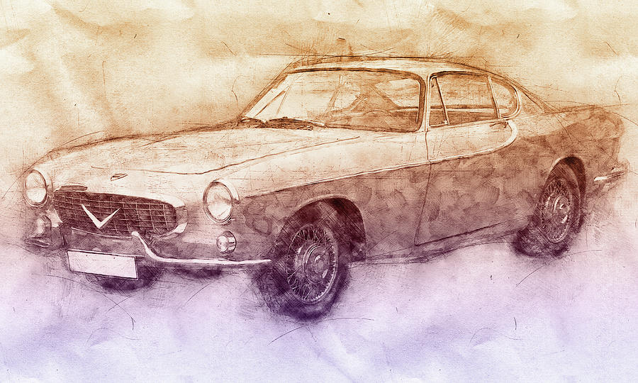 High Quality Volvo P1800 Mixed Media   Volvo P1800   Sports Car 2   Automotive Art   Car