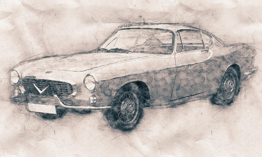 Volvo P1800 - Sports Car - Automotive Art - Car Posters Mixed Media