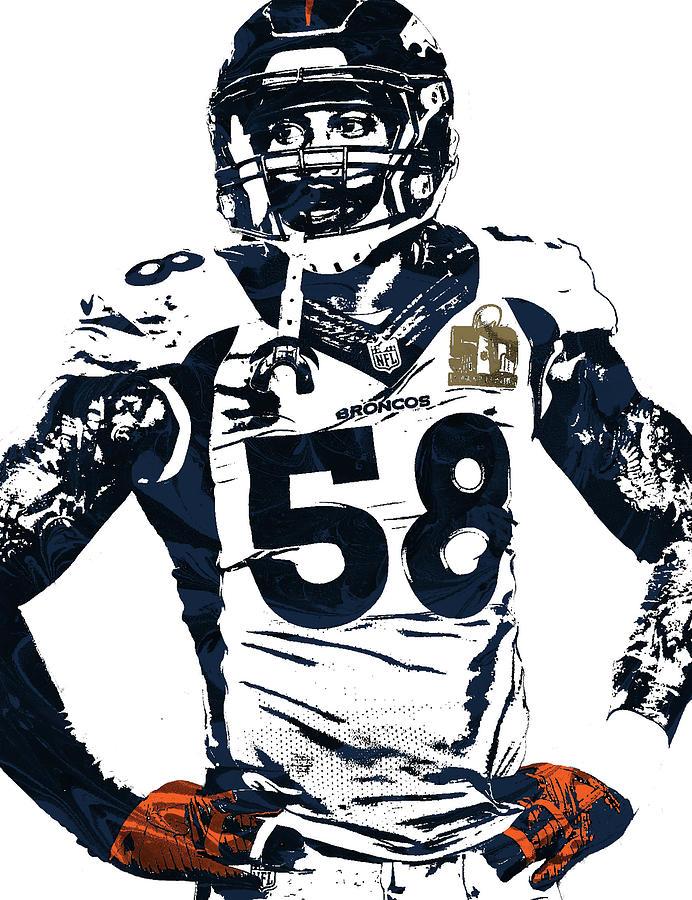 Von Miller Mixed Media - Von Miller Denver Broncos Pixel Art 2 by Joe Hamilton