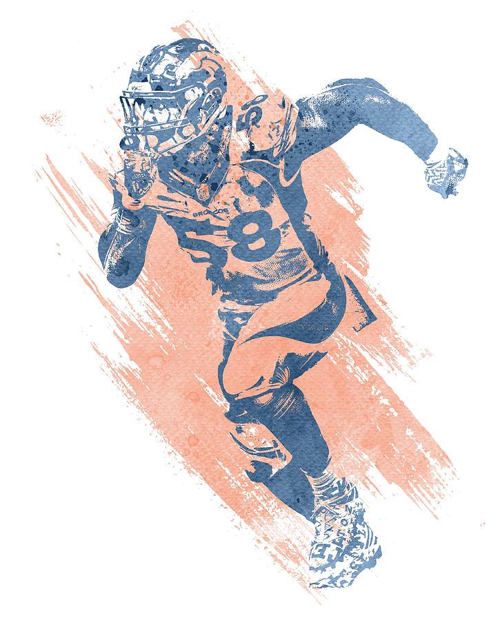 Von Miller Mixed Media - Von Miller Denver Broncos Water Color Art 7 by Joe Hamilton
