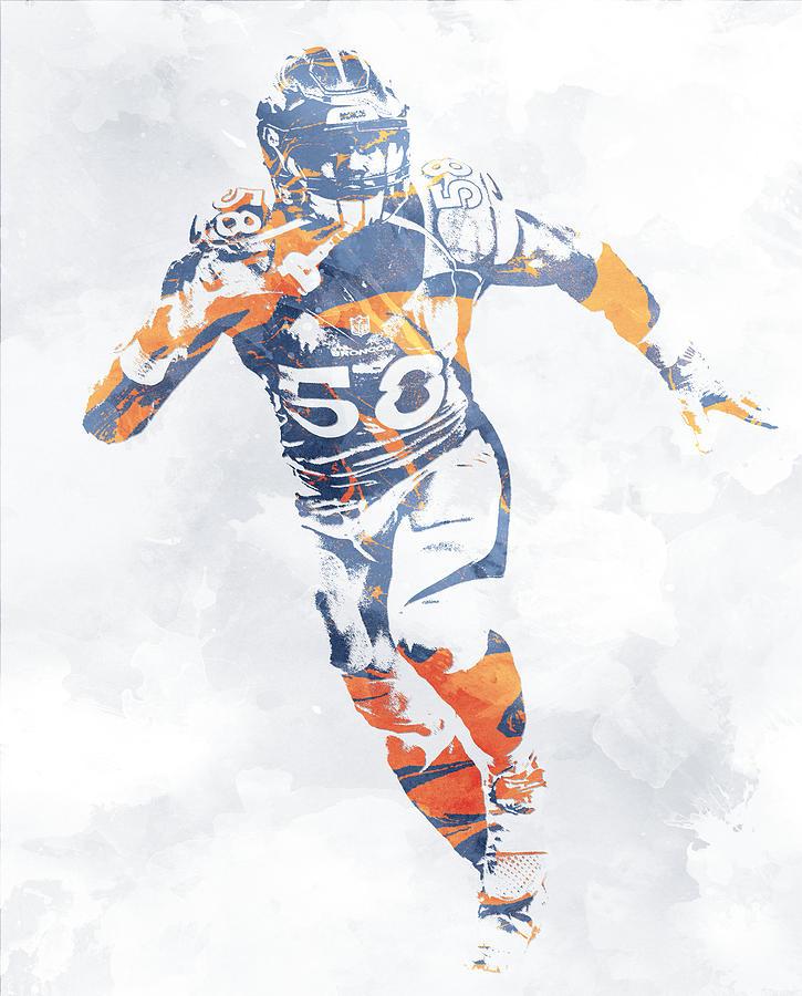Von Miller Denver Broncos Water Color Pixel Art 10 Mixed Media by ...