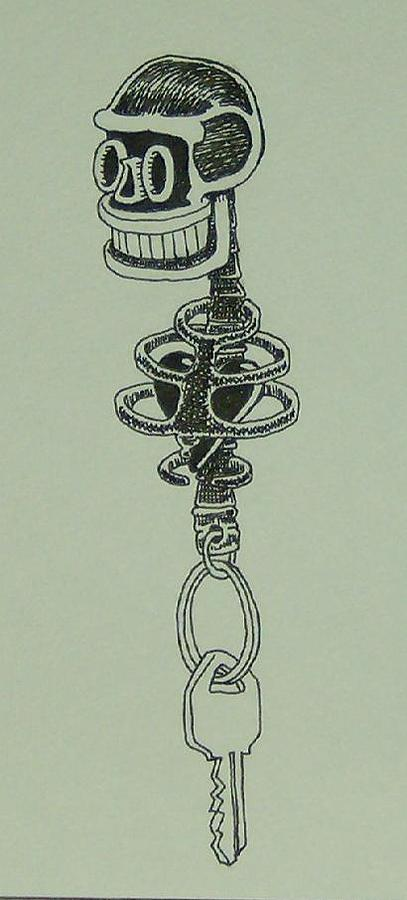Ink Drawing - Voodoo Keychain by Mike Boast