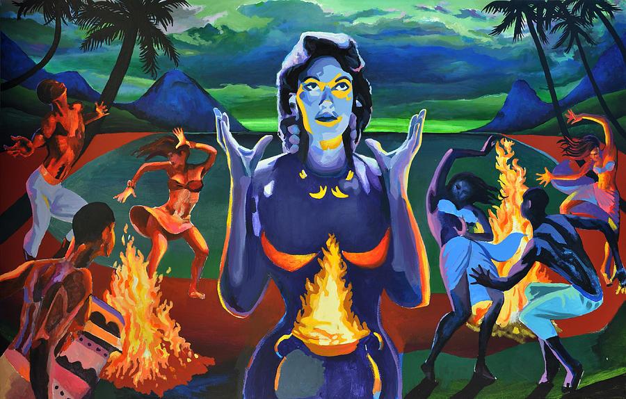 Night Painting - Voodoo Woman by Geoff Greene