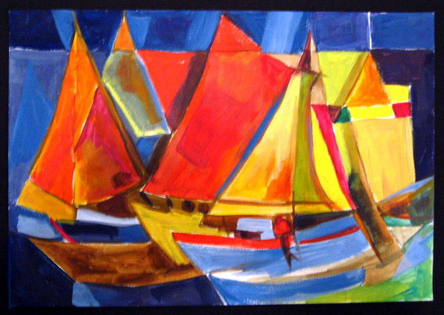 White Painting - Voyage Of Boats by Therese AbouNader