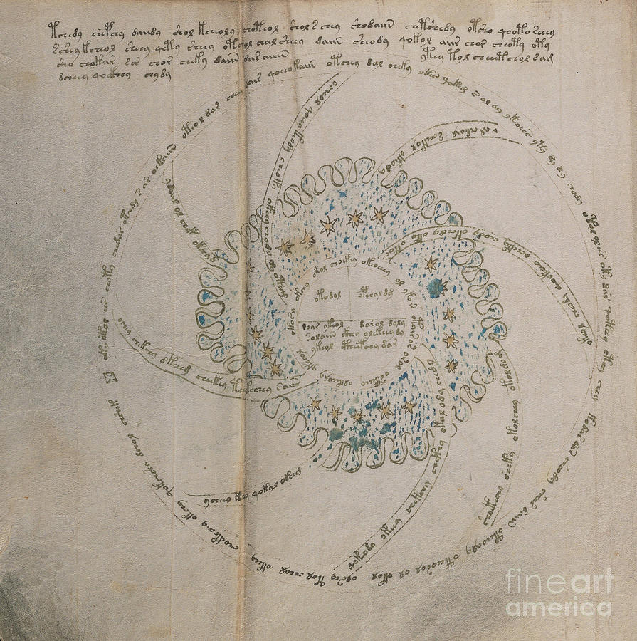 Astronomy Drawing - Voynich Manuscript Astro Universe 1 by Rick Bures