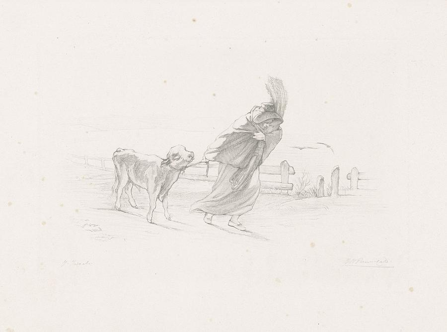 Man Painting - Vrouw Met Een Kalf, Johann Heinrich Maria Hubert Rennefeld, 1845 - 1877 by Johann Heinrich Maria Hubert Rennefeld