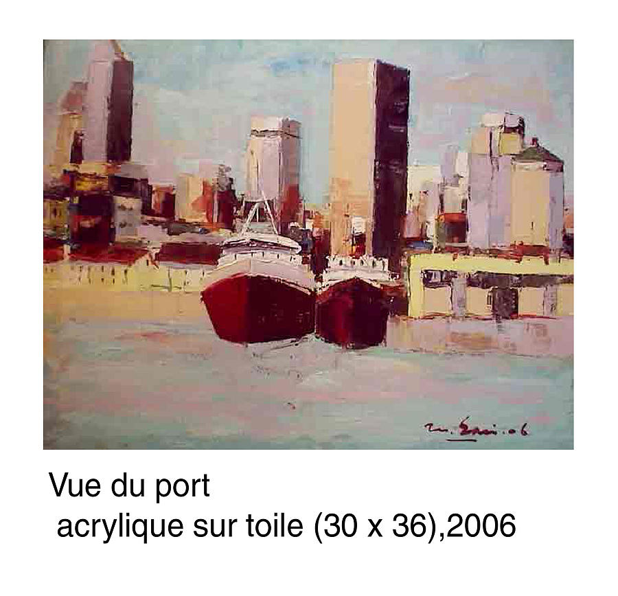 Landscape Painting - Vue Du Port Montreal by Saci Mhamed