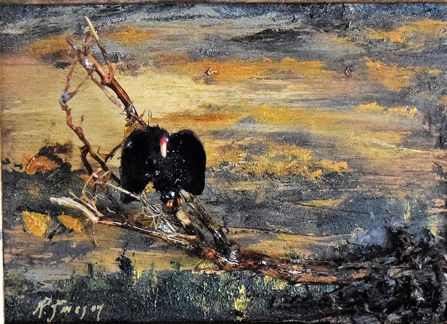 Vulture with Oncoming Storm by Roger Swezey