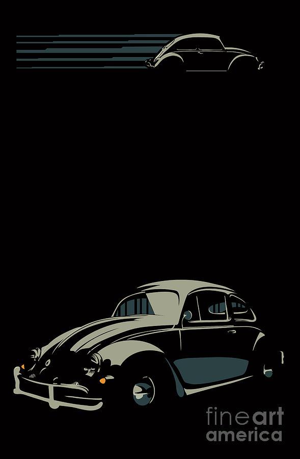 Bug Digital Art - Vw Beatle by Sassan Filsoof