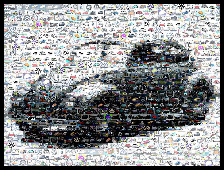 Vw Digital Art - Vw Bug Volkswagen Mosaic by Paul Van Scott