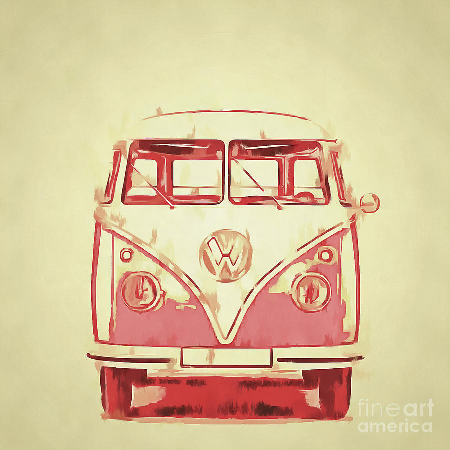 Vw Painting - Vw Van Graphic Artwork Yellow Red by Edward Fielding