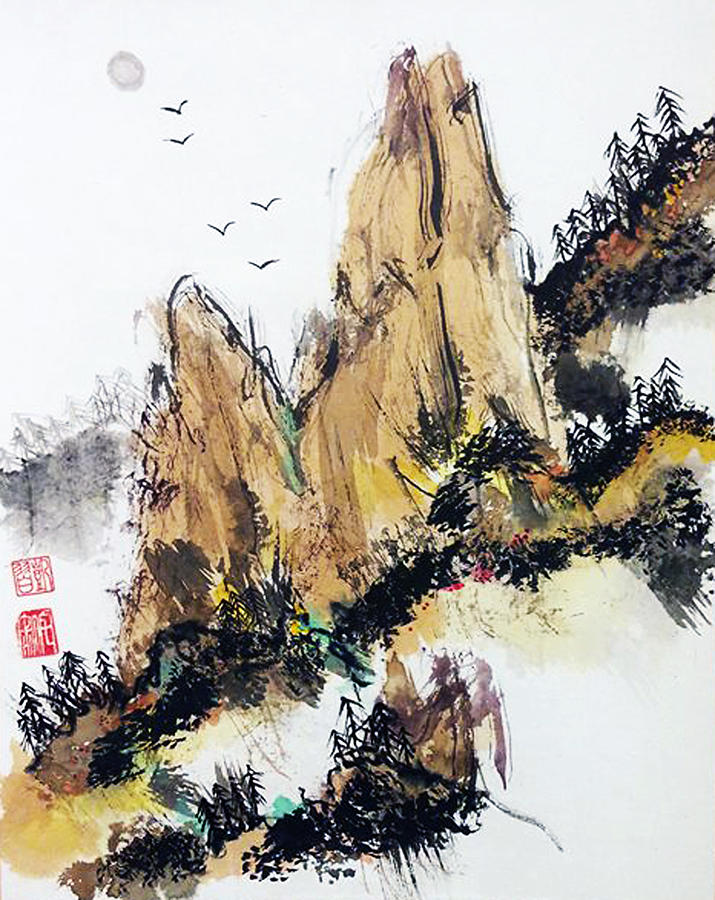 Sumi Painting - Wabi Sabi  Rising Up by Casey Shannon