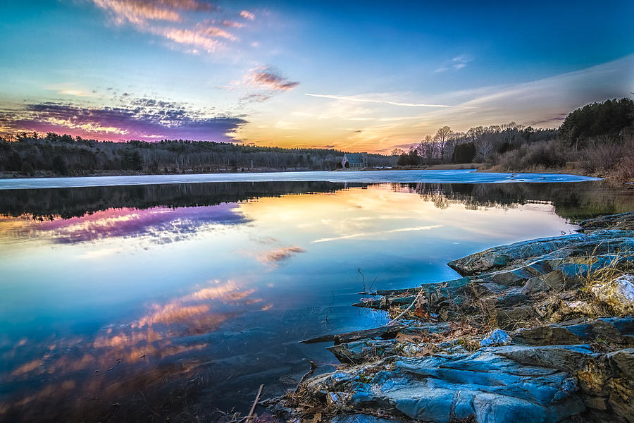 Ice Skating Photograph - Wachusett Reservoir Sunset by Bob Bernier