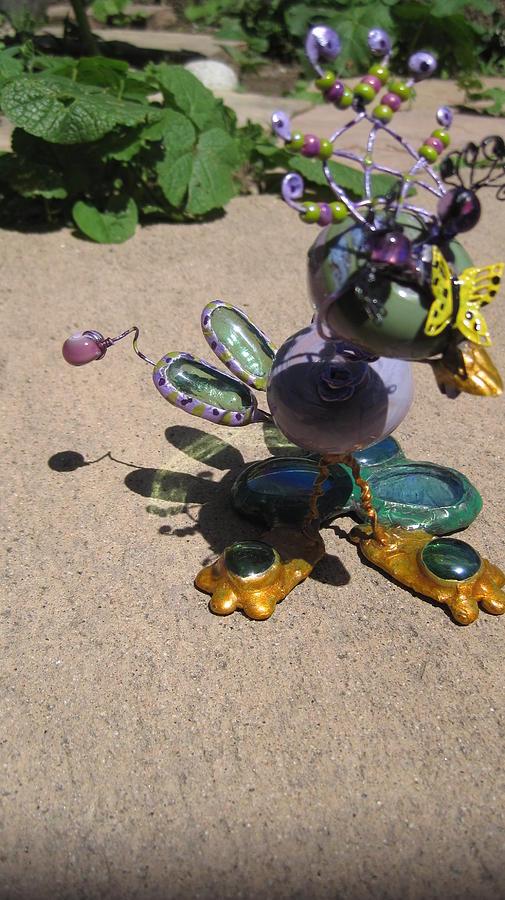 Sculpture Sculpture - Wacky Green Purple Bird by Maxine Grossman
