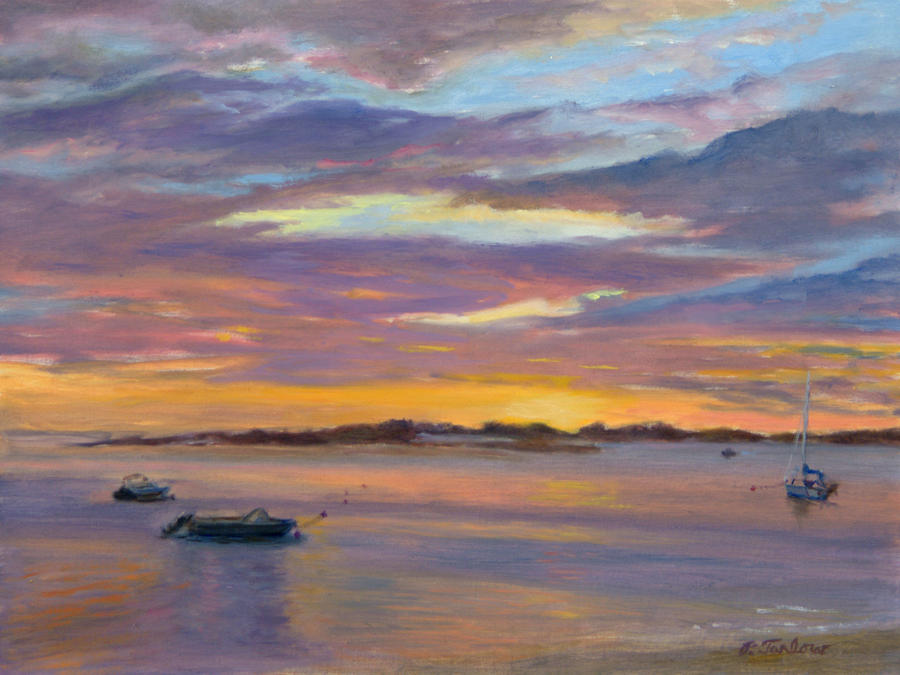 Landscape Painting - Wades Beach Sunset by Phyllis Tarlow