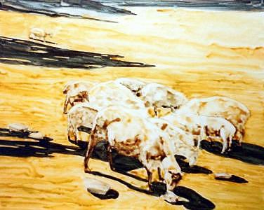 Sheep Farm Painting - Wades Sheep by Helen Hickey