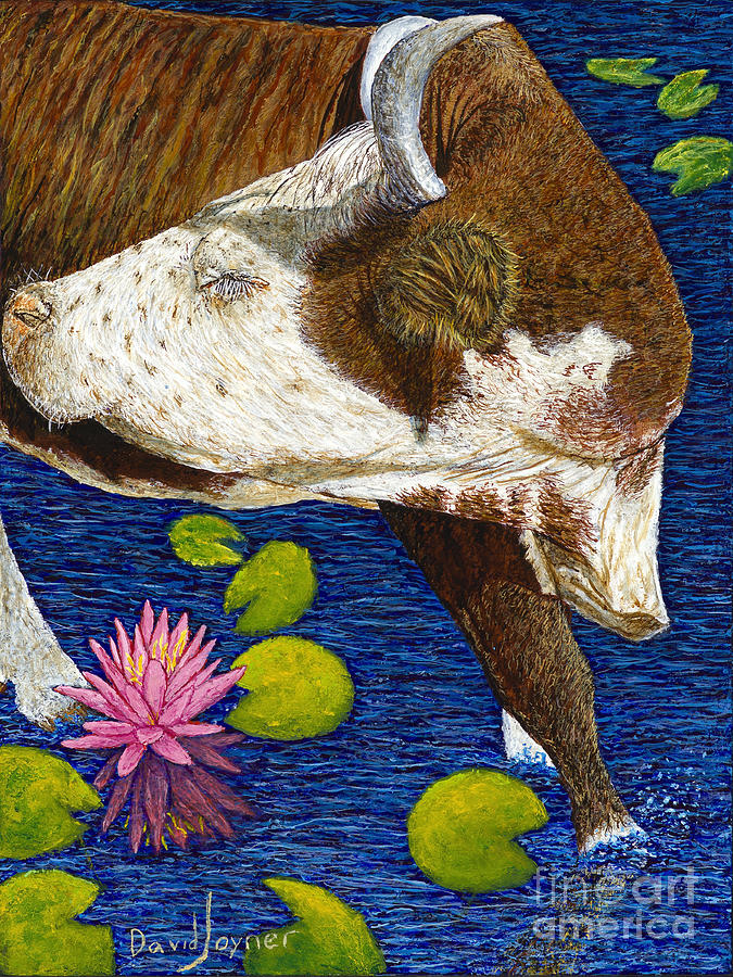 Cracker Cow Painting - Wading Repose by David Joyner