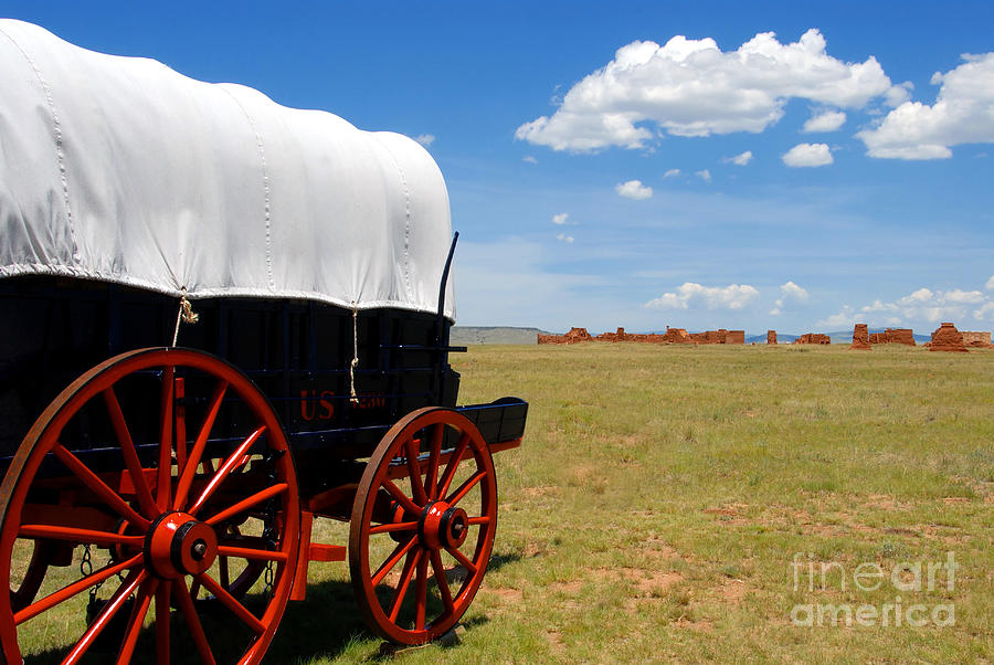 Landscape Photograph - Wagon At Old Fort Union by David Lee Thompson