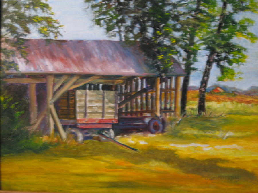 Rural Scene Painting - Wagon On Oregon Trail by Jan Harvey