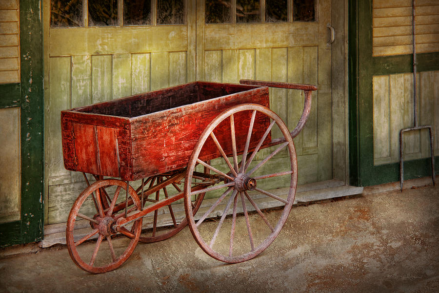Country Photograph - Wagon - That Old Red Wagon  by Mike Savad