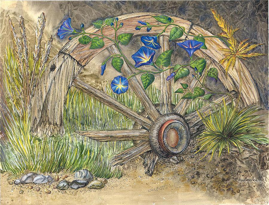 Still Life Painting - Wagon Weel by Tatiana Rodionova