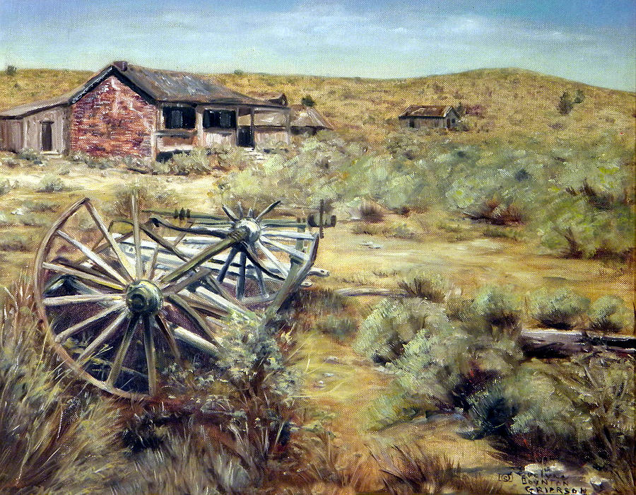 West Painting - Wagon Wheels Bodie California by Evelyne Boynton Grierson