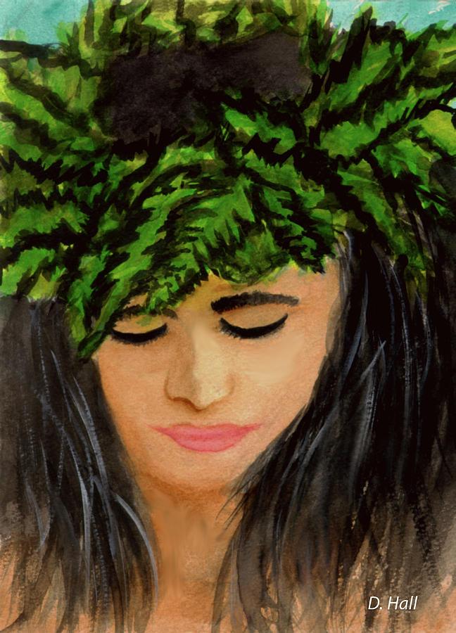 Wahine Painting - Wahine Woman In Hawaiian #244 by Donald k Hall