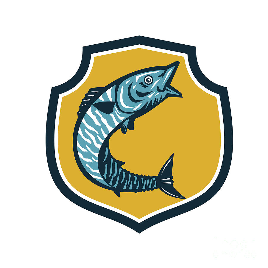 Wahoo Fish Jumping Shield Retro Digital Art by Aloysius Patrimonio