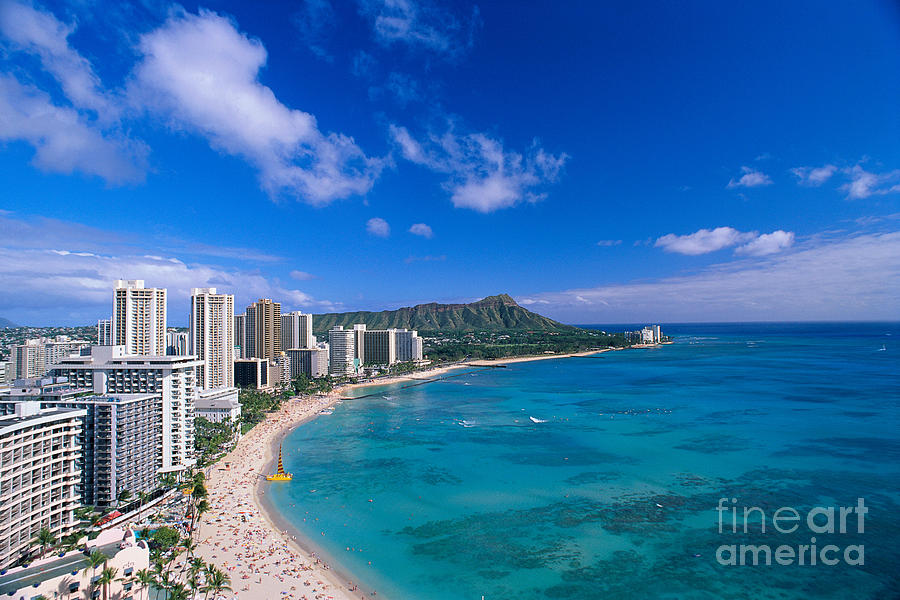 Aerial Photograph - Waikiki And Diamond Head by William Waterfall - Printscapes