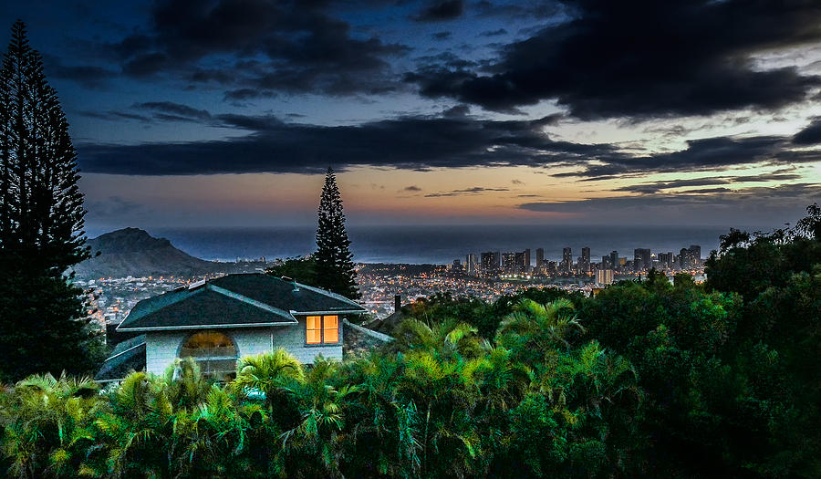 Waikiki At Dusk by Wayne Wood