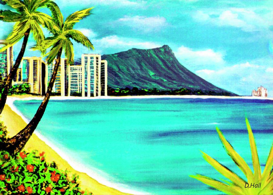 Diamond Head Painting - Waikiki Beach And Diamond Head #150 by Donald k Hall